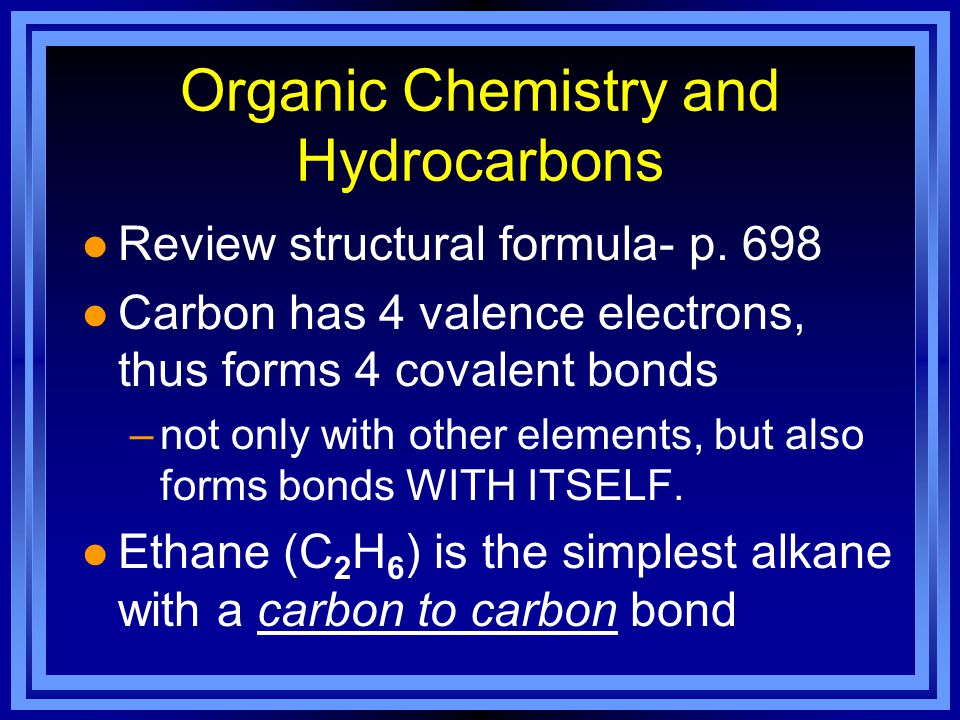 Organic Chemistry and Hydrocarbons l Review structural formula- p.