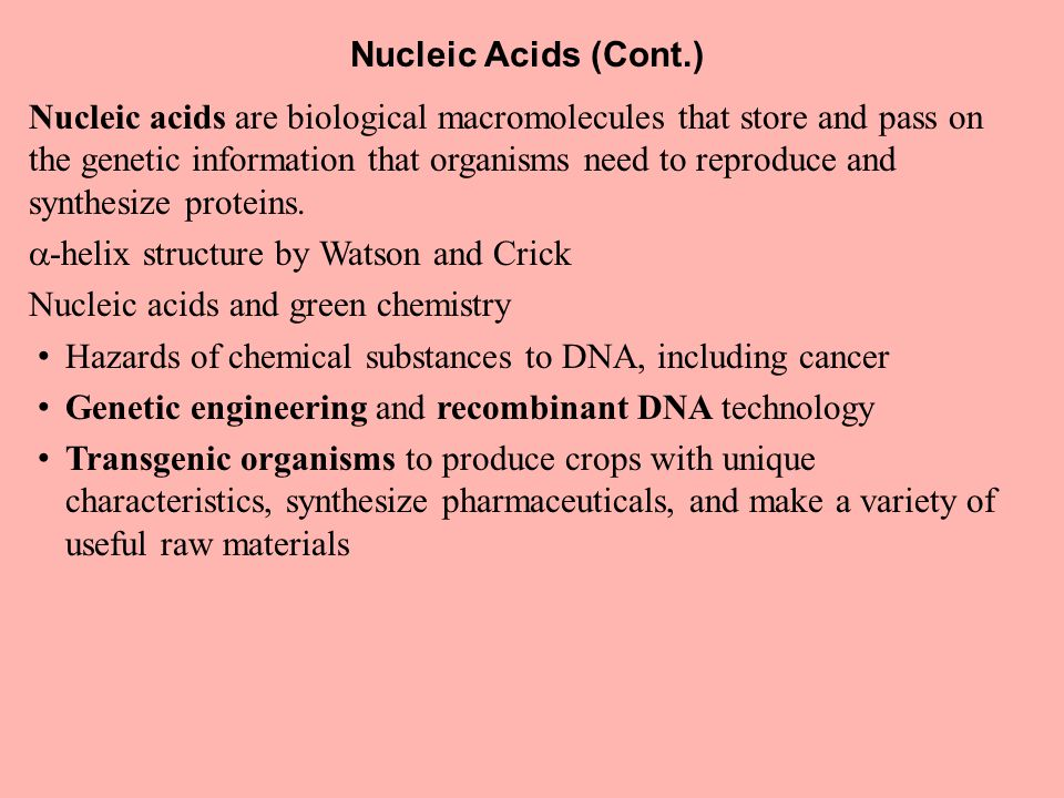Nucleic Acids (Cont.) Nucleic acids are biological macromolecules that store and pass on the genetic information that organisms need to reproduce and synthesize proteins.