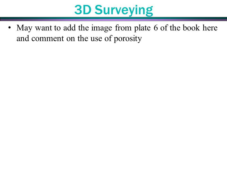 3D Surveying May want to add the image from plate 6 of the book here and comment on the use of porosity