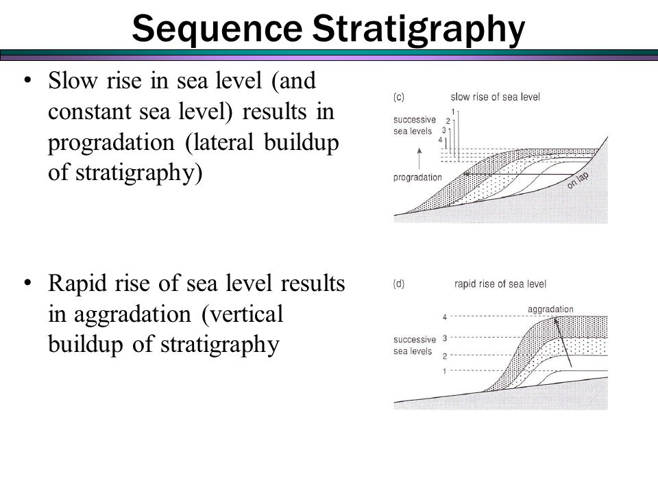 Sequence Stratigraphy Slow rise in sea level (and constant sea level) results in progradation (lateral buildup of stratigraphy) Rapid rise of sea level results in aggradation (vertical buildup of stratigraphy