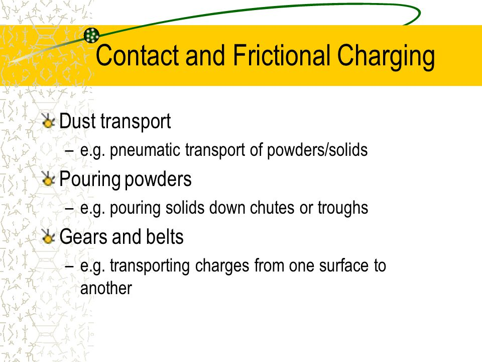 Contact and Frictional Charging Dust transport –e.g.