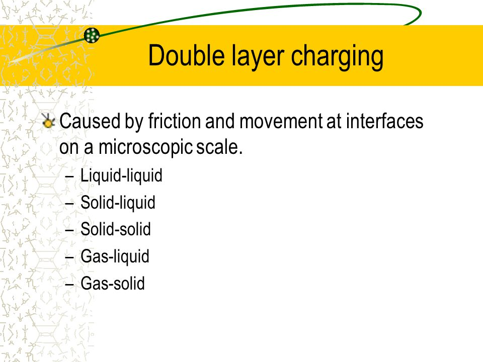 Double layer charging Caused by friction and movement at interfaces on a microscopic scale.