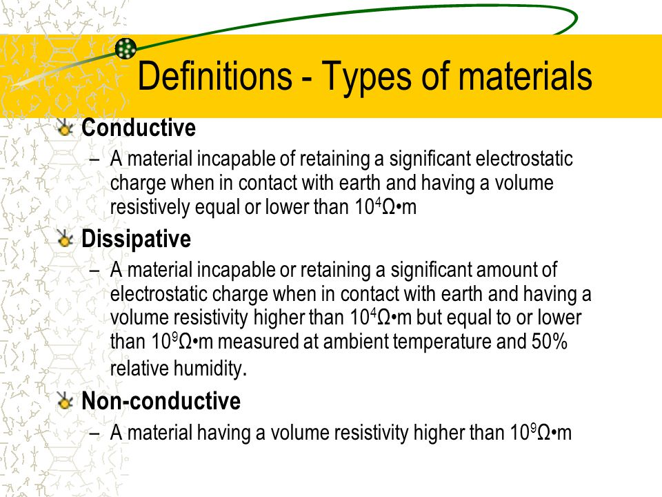 Definitions - Types of materials Conductive –A material incapable of retaining a significant electrostatic charge when in contact with earth and having a volume resistively equal or lower than 10 4 Ωm Dissipative –A material incapable or retaining a significant amount of electrostatic charge when in contact with earth and having a volume resistivity higher than 10 4 Ωm but equal to or lower than 10 9 Ωm measured at ambient temperature and 50% relative humidity.