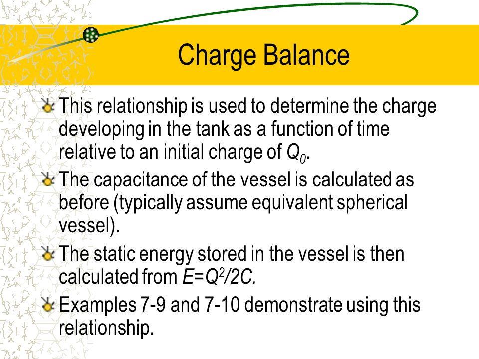 This relationship is used to determine the charge developing in the tank as a function of time relative to an initial charge of Q 0.