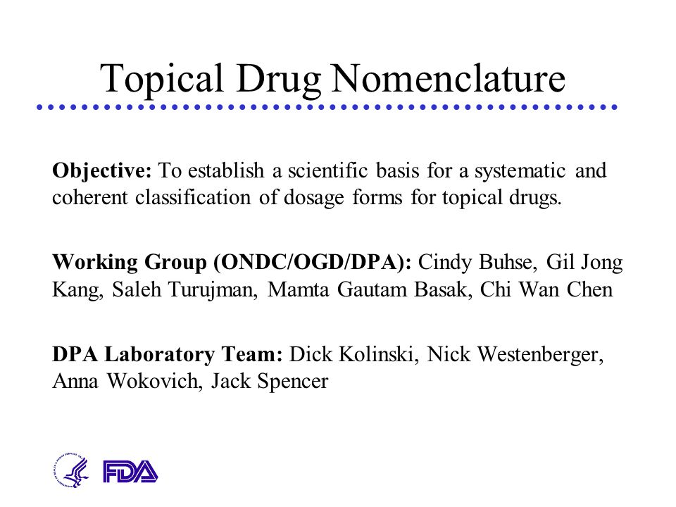 Topical Drug Nomenclature Objective: To establish a scientific basis for a systematic and coherent classification of dosage forms for topical drugs. W