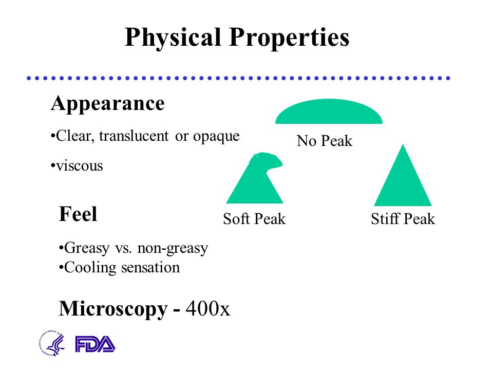 Appearance Clear, translucent or opaque viscous Greasy vs. non-greasy Cooling sensation Feel Physical Properties Microscopy - 400x No Peak Soft PeakSt