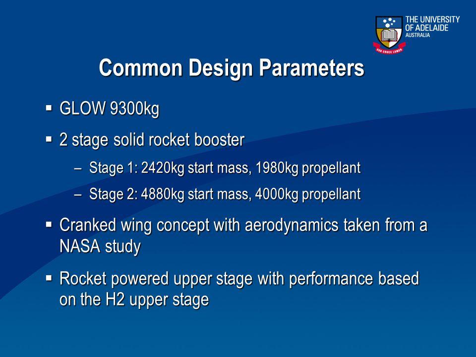 Common Design Parameters  GLOW 9300kg  2 stage solid rocket booster –Stage 1: 2420kg start mass, 1980kg propellant –Stage 2: 4880kg start mass, 4000
