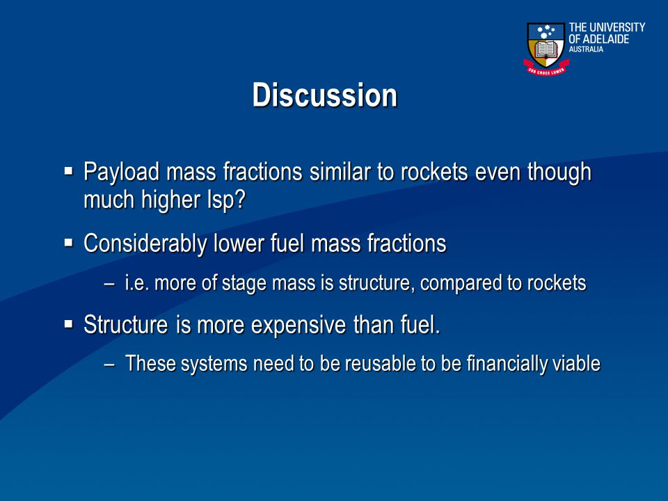 Discussion  Payload mass fractions similar to rockets even though much higher Isp?  Considerably lower fuel mass fractions –i.e. more of stage mass