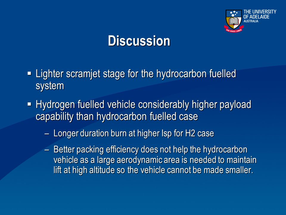 Discussion  Lighter scramjet stage for the hydrocarbon fuelled system  Hydrogen fuelled vehicle considerably higher payload capability than hydrocar