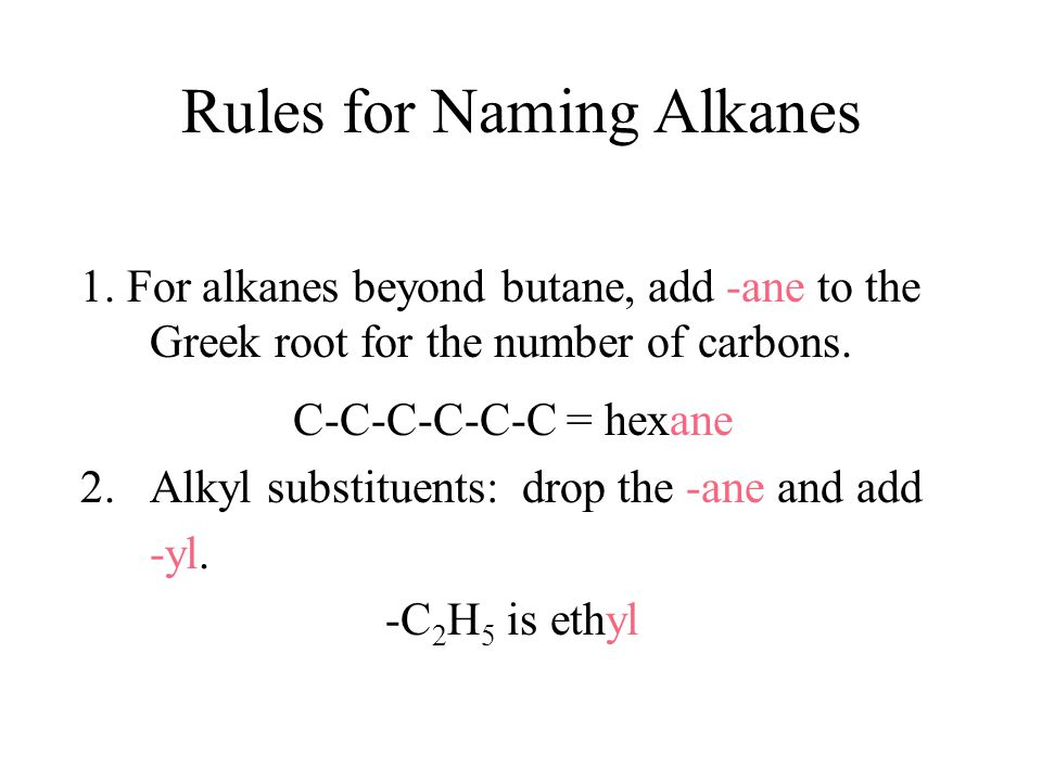 Rules for Naming Alkanes 1.