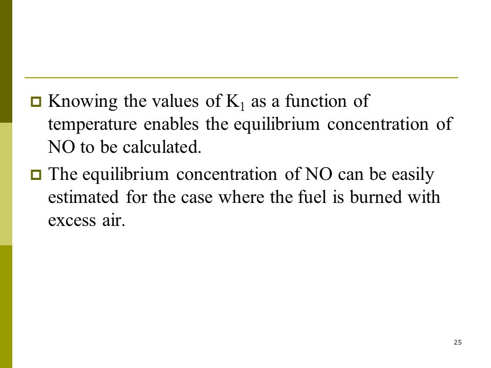 25  Knowing the values of K 1 as a function of temperature enables the equilibrium concentration of NO to be calculated.