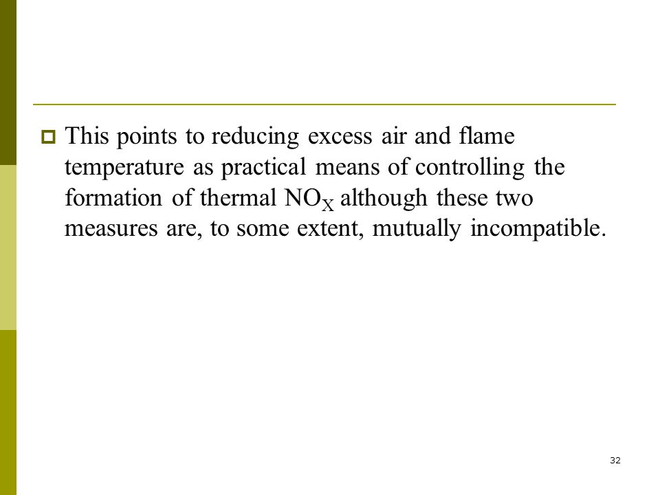 32  This points to reducing excess air and flame temperature as practical means of controlling the formation of thermal NO X although these two measures are, to some extent, mutually incompatible.
