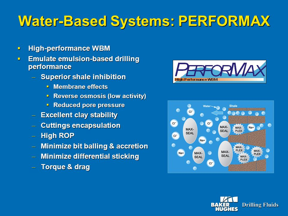 Water-Based Systems: PERFORMAX  High-performance WBM  Emulate emulsion-based drilling performance – Superior shale inhibition  Membrane effects  R