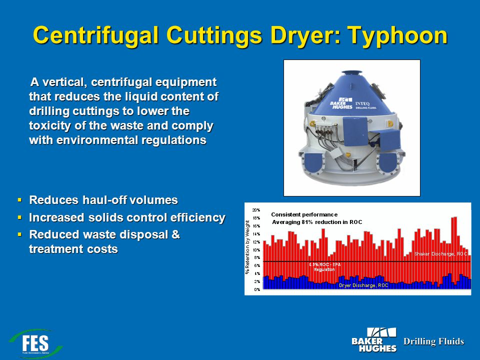 Centrifugal Cuttings Dryer: Typhoon A vertical, centrifugal equipment that reduces the liquid content of drilling cuttings to lower the toxicity of th