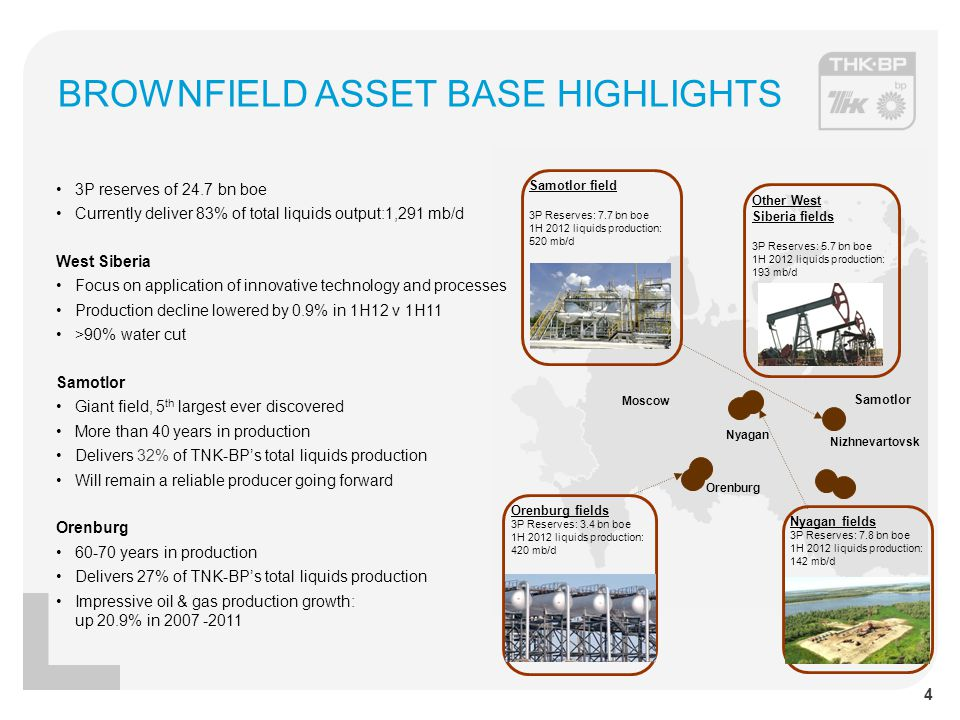 BROWNFIELD ASSET BASE HIGHLIGHTS 3P reserves of 24.7 bn boe Currently deliver 83% of total liquids output:1,291 mb/d West Siberia Focus on application of innovative technology and processes Production decline lowered by 0.9% in 1H12 v 1H11 >90% water cut Samotlor Giant field, 5 th largest ever discovered More than 40 years in production Delivers 32% of TNK-BP's total liquids production Will remain a reliable producer going forward Orenburg 60-70 years in production Delivers 27% of TNK-BP's total liquids production Impressive oil & gas production growth: up 20.9% in 2007 -2011 Samotlor Moscow Orenburg Nizhnevartovsk Nyagan Orenburg fields 3P Reserves: 3.4 bn boe 1H 2012 liquids production: 420 mb/d Samotlor field 3P Reserves: 7.7 bn boe 1H 2012 liquids production: 520 mb/d Nyagan fields 3P Reserves: 7.8 bn boe 1H 2012 liquids production: 142 mb/d Other West Siberia fields 3P Reserves: 5.7 bn boe 1H 2012 liquids production: 193 mb/d 4