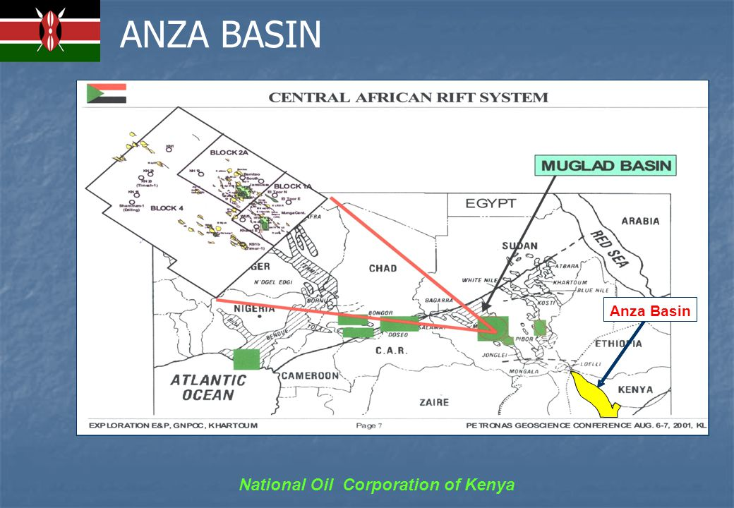 National Oil Corporation of Kenya HYDROCABON OCCURANCES IN ANZA BASIN Lower Cretaceous Clastics flowed gas during DST (Ndovu-1 well) Lower Cretaceous Clastics flowed gas during DST (Ndovu-1 well) Tarry oil associated with water in Sirius-1 well Tarry oil associated with water in Sirius-1 well Gas shows in Lower Cretaceous sands Gas shows in Lower Cretaceous sands Oil shows/flourecence/staining in aptian sands in Ndovu-1 well Oil shows/flourecence/staining in aptian sands in Ndovu-1 well Oil shows in: Oil shows in: ─ paleogene in Hothori-1 well ─ Miocene to Cretaceous in Chalbi-3 well