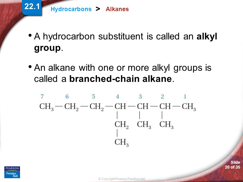 Slide 20 of 35 © Copyright Pearson Prentice Hall 22.1 Hydrocarbons > Alkanes A hydrocarbon substituent is called an alkyl group.