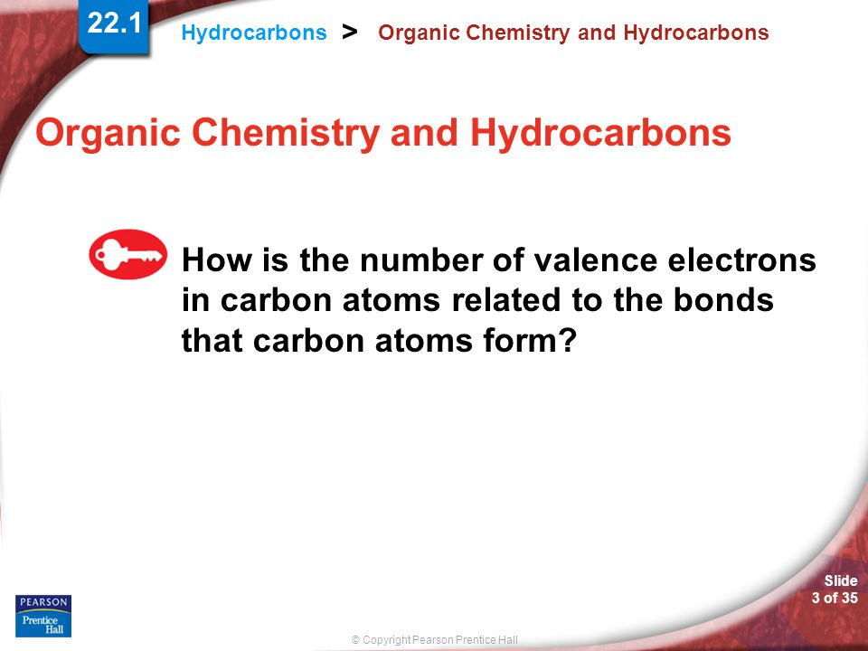 © Copyright Pearson Prentice Hall Hydrocarbons > Slide 3 of 35 22.1 Organic Chemistry and Hydrocarbons How is the number of valence electrons in carbon atoms related to the bonds that carbon atoms form?