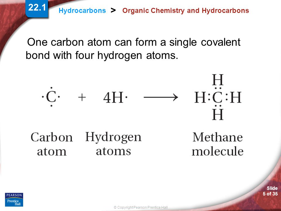 Slide 5 of 35 © Copyright Pearson Prentice Hall 22.1 Hydrocarbons > Organic Chemistry and Hydrocarbons One carbon atom can form a single covalent bond with four hydrogen atoms.