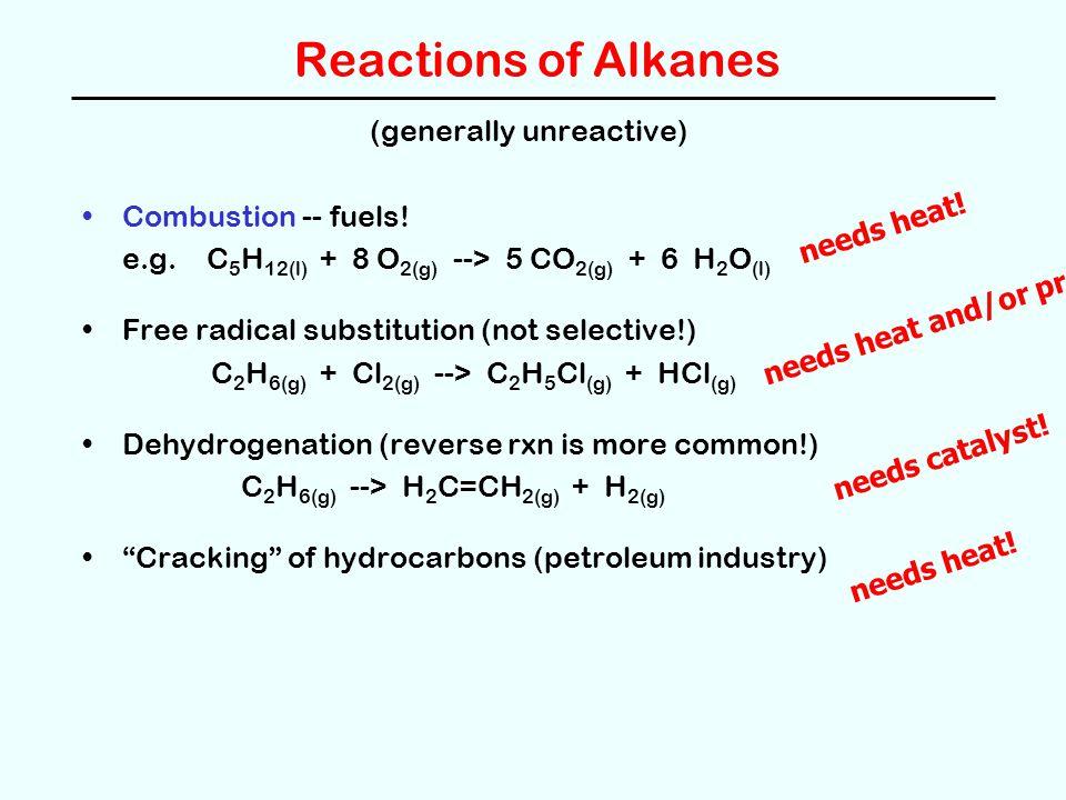 Reactions of Alkanes (generally unreactive) Combustion -- fuels.