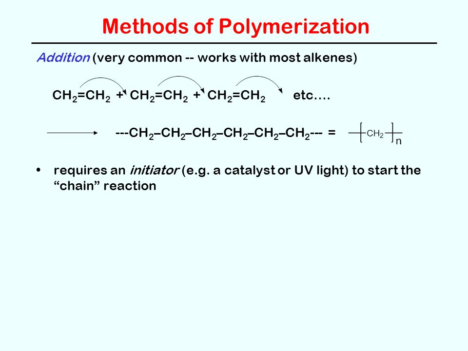 Methods of Polymerization Addition (very common -- works with most alkenes) CH 2 =CH 2 + CH 2 =CH 2 + CH 2 =CH 2 etc….