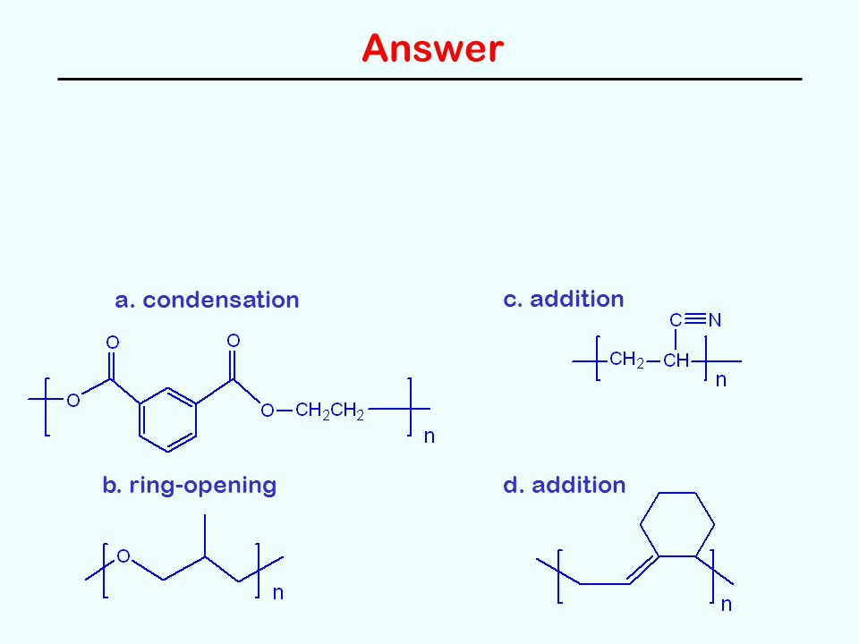 Answer a. condensation b. ring-opening c. addition d. addition