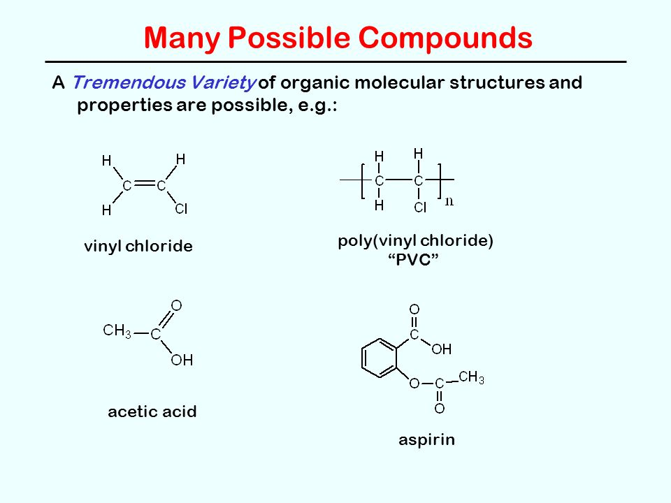 Many Possible Compounds A Tremendous Variety of organic molecular structures and properties are possible, e.g.: vinyl chloride poly(vinyl chloride) PVC acetic acid aspirin