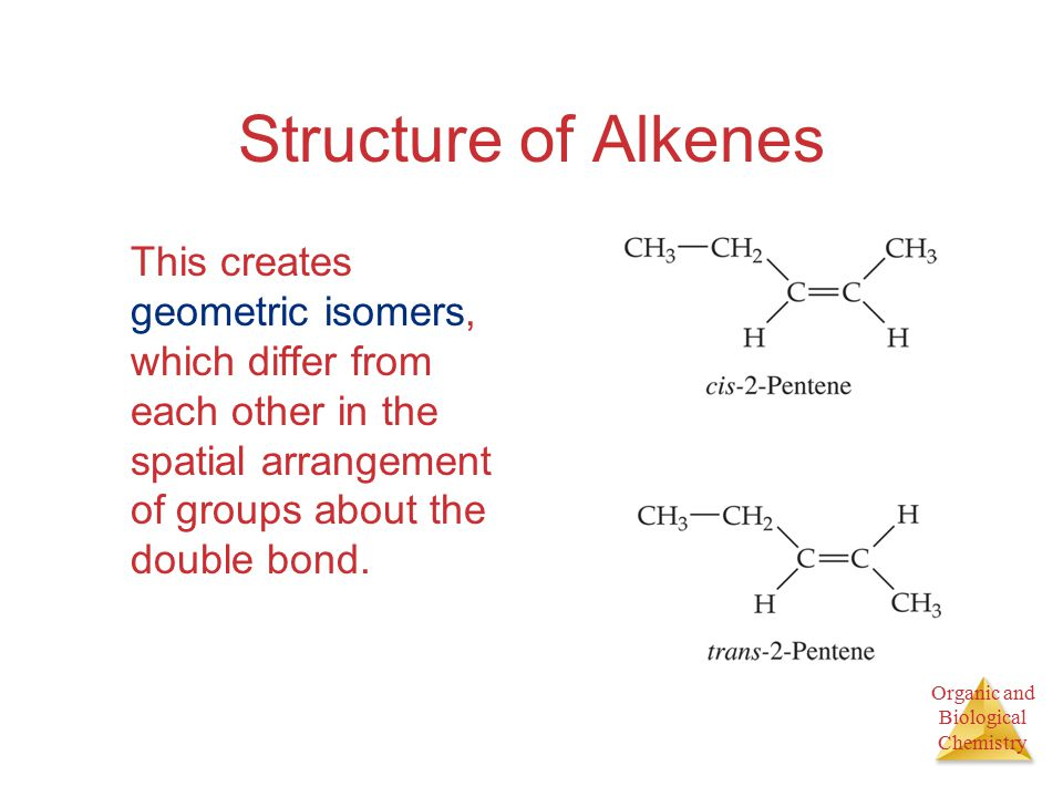 Organic and Biological Chemistry Structure of Alkenes This creates geometric isomers, which differ from each other in the spatial arrangement of groups about the double bond.