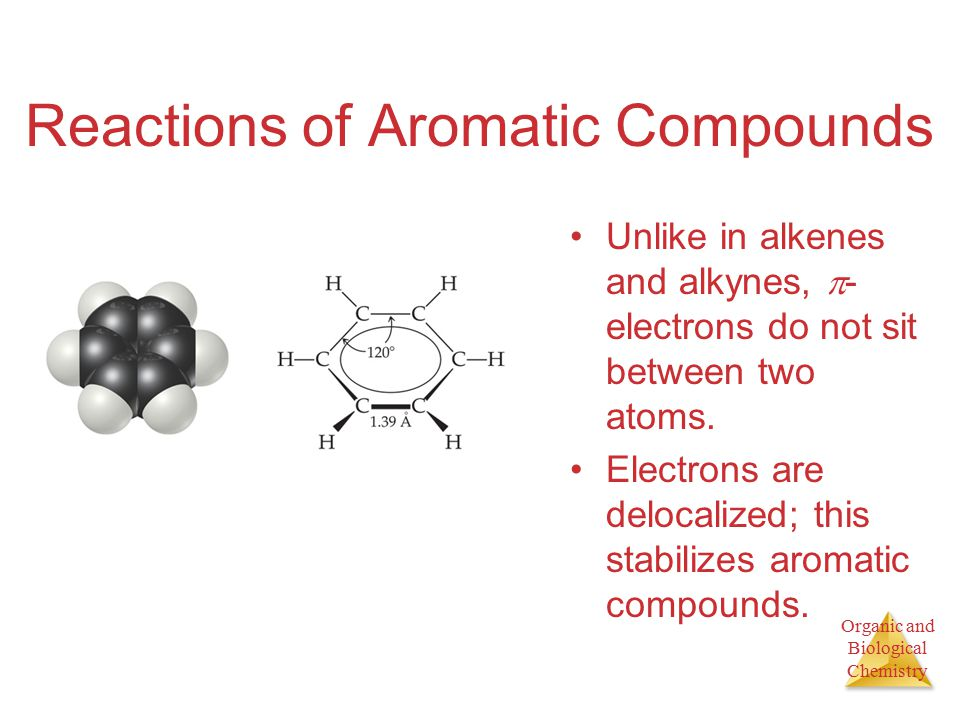 Organic and Biological Chemistry Reactions of Aromatic Compounds Unlike in alkenes and alkynes,  - electrons do not sit between two atoms.