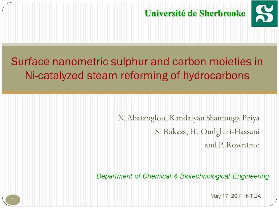 Université de Sherbrooke C arom /Ni and S/Ni SampleC aromatic /Ni (%)S total /Ni (%) Ni-C 4 S5.02.1 Ni-C 5 S6.12.5 Ni-C 6 S7.52.6 Ni-C 10 S11.04.0 May 17, 2011: NTUA 32 Results 2: Thermal Pretreatment and Steam Reforming