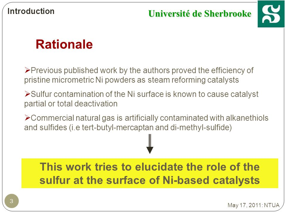 Université de Sherbrooke 54 Ongoing Work 1.Identify (and quantify?) the factors responsible for the catalyst deactivation; S and/or C moieties 2.