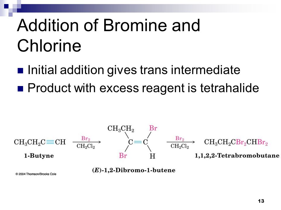 13 Addition of Bromine and Chlorine Initial addition gives trans intermediate Product with excess reagent is tetrahalide