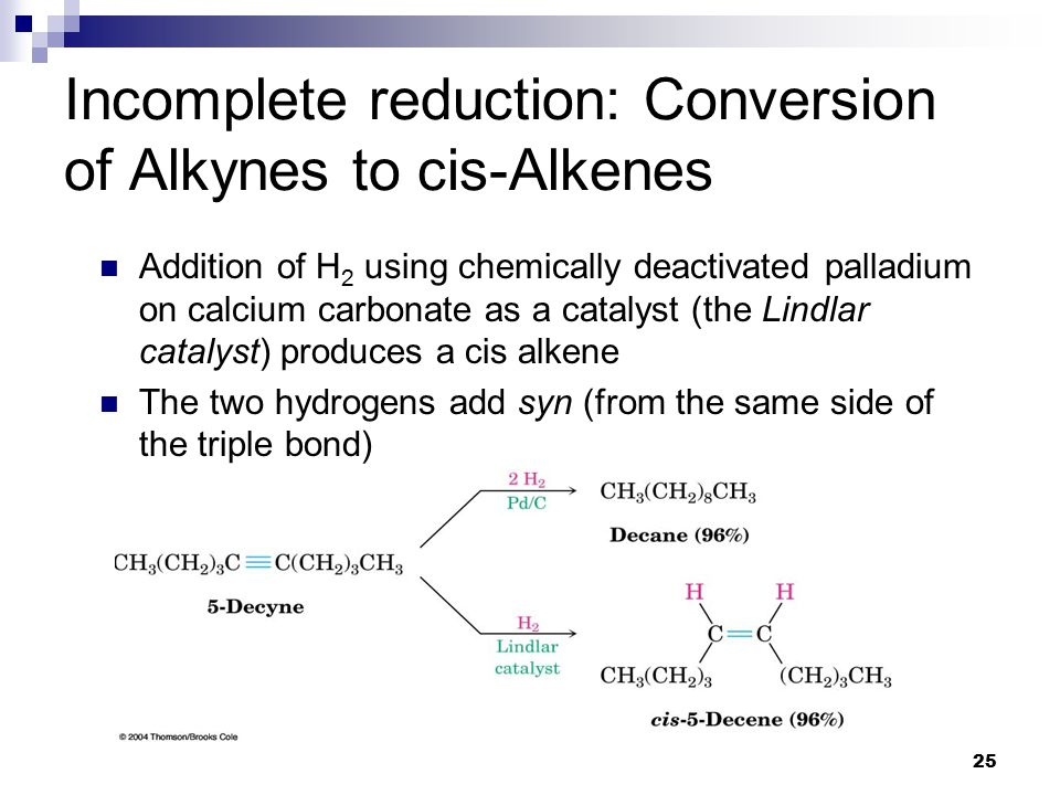 25 Incomplete reduction: Conversion of Alkynes to cis-Alkenes Addition of H 2 using chemically deactivated palladium on calcium carbonate as a catalyst (the Lindlar catalyst) produces a cis alkene The two hydrogens add syn (from the same side of the triple bond)