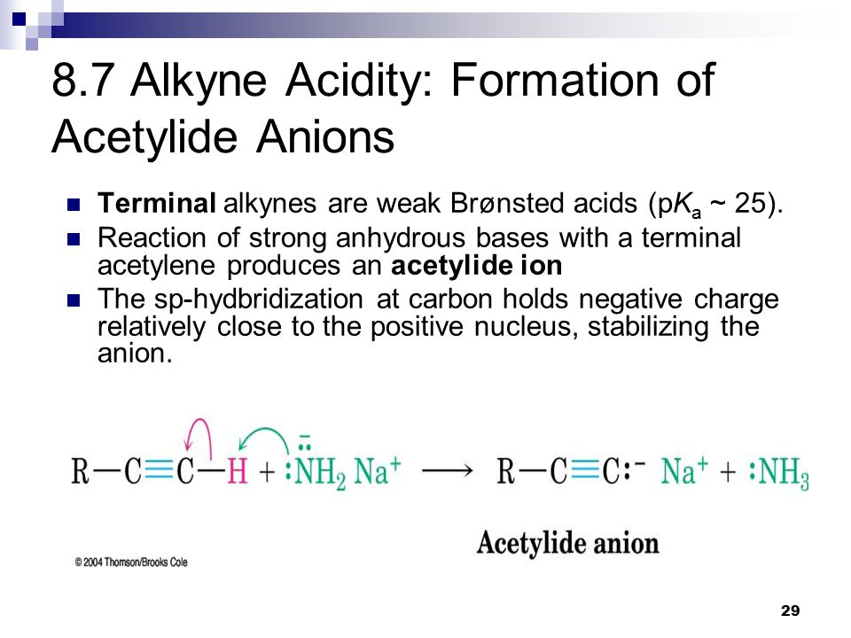 29 8.7 Alkyne Acidity: Formation of Acetylide Anions Terminal alkynes are weak Brønsted acids (pK a ~ 25).