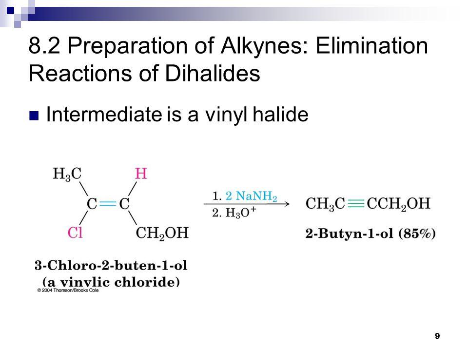 9 8.2 Preparation of Alkynes: Elimination Reactions of Dihalides Intermediate is a vinyl halide