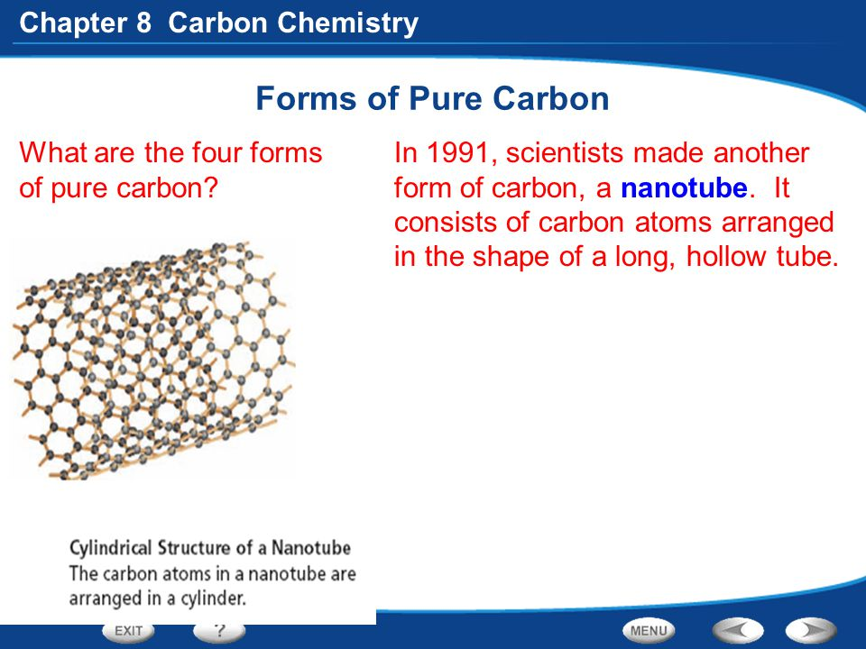 Chapter 8 Carbon Chemistry Forms of Pure Carbon What are the four forms of pure carbon? In 1991, scientists made another form of carbon, a nanotube. I