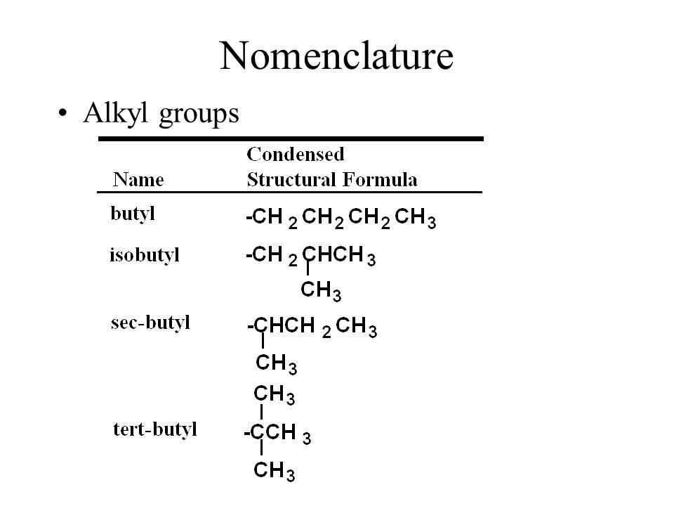 Nomenclature Alkyl groups