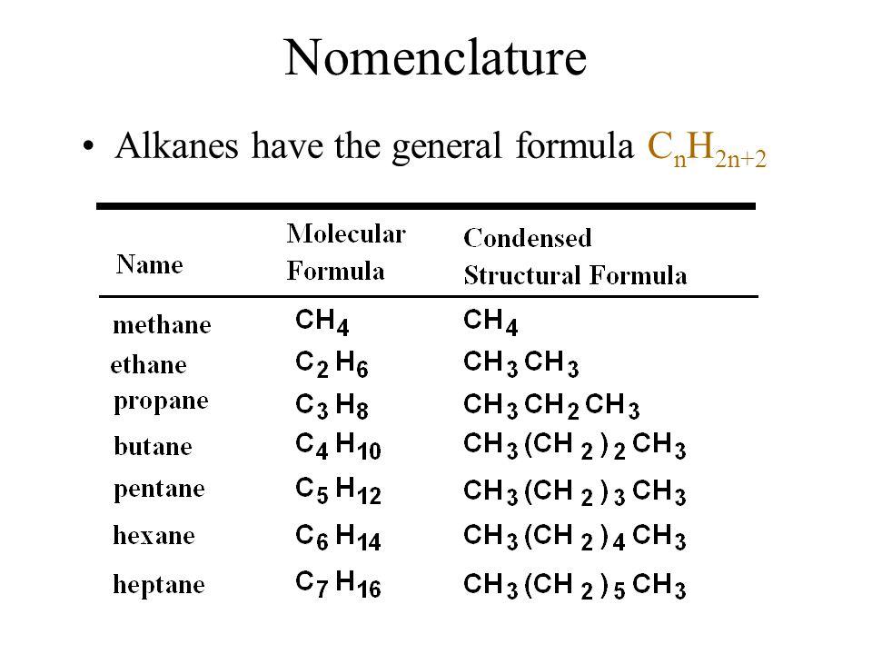 Nomenclature Alkanes have the general formula C n H 2n+2