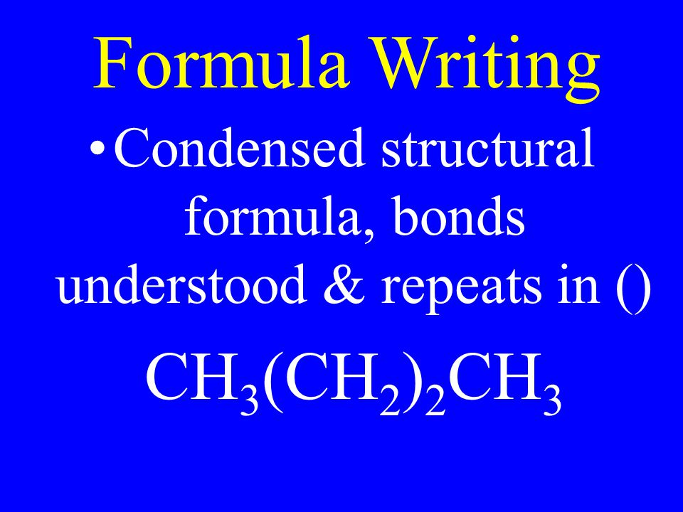 Formula Writing Condensed structural formula, bonds understood & repeats in () CH 3 (CH 2 ) 2 CH 3