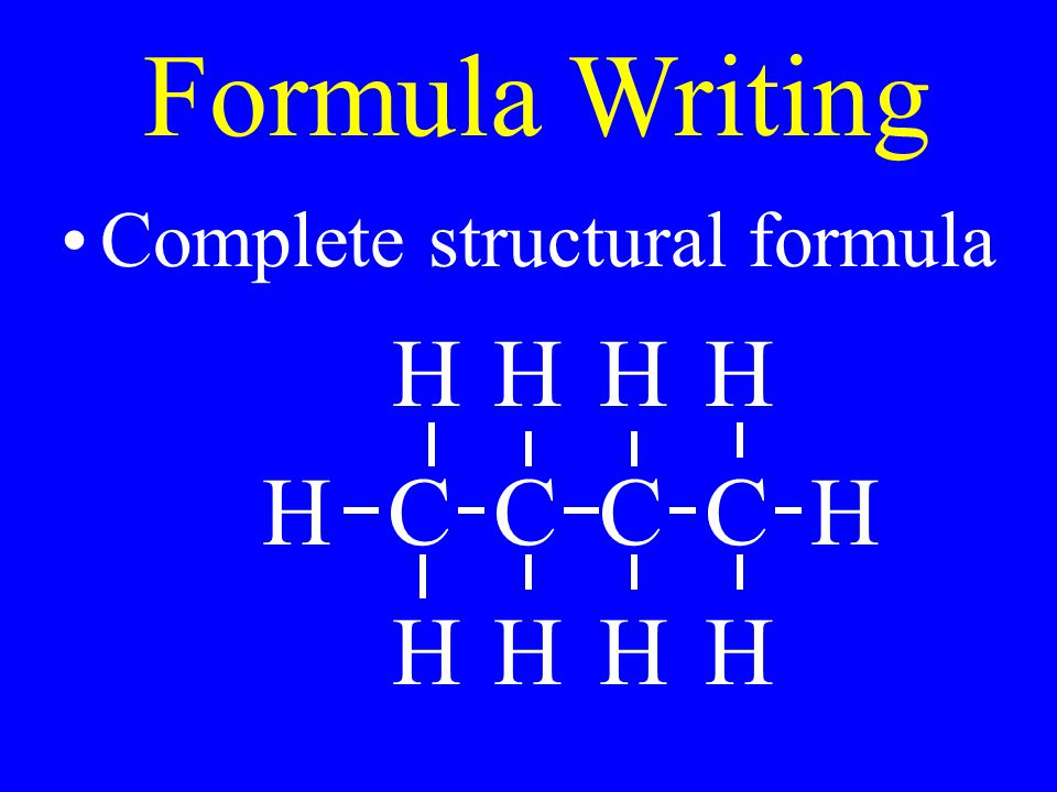 Formula Writing Complete structural formula HHHH HCCCCH HHHH