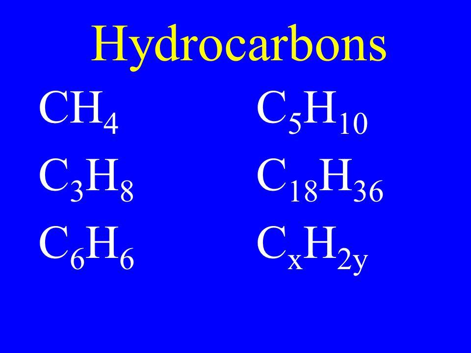 Hydrocarbons CH 4 C 5 H 10 C 3 H 8 C 18 H 36 C 6 H 6 C x H 2y