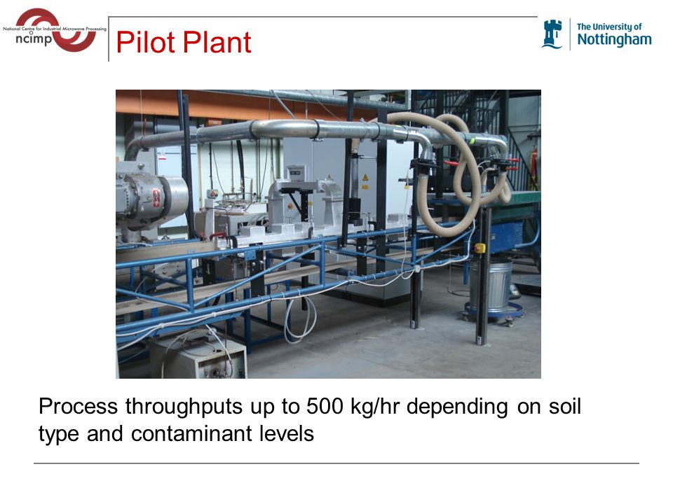 Pilot Plant Process throughputs up to 500 kg/hr depending on soil type and contaminant levels