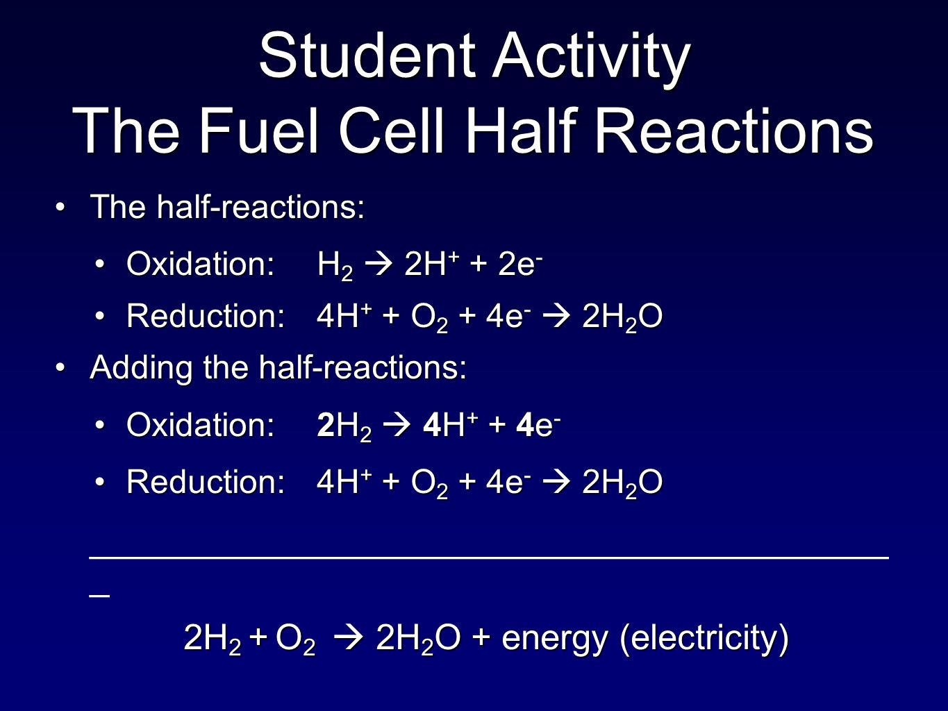 The half-reactions:The half-reactions: Oxidation:H 2  2H + + 2e -Oxidation:H 2  2H + + 2e - Reduction:4H + + O 2 + 4e -  2H 2 OReduction:4H + + O 2 + 4e -  2H 2 O Adding the half-reactions:Adding the half-reactions: Oxidation:2H 2  4H + + 4e -Oxidation:2H 2  4H + + 4e - Reduction:4H + + O 2 + 4e -  2H 2 OReduction:4H + + O 2 + 4e -  2H 2 O _________________________________________ _ 2H 2 + O 2  2H 2 O + energy (electricity) Student Activity The Fuel Cell Half Reactions
