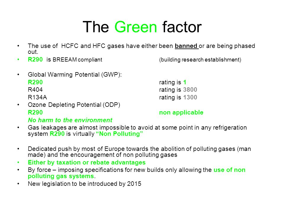 The Green factor The use of HCFC and HFC gases have either been banned or are being phased out. R290 is BREEAM compliant (building research establishm