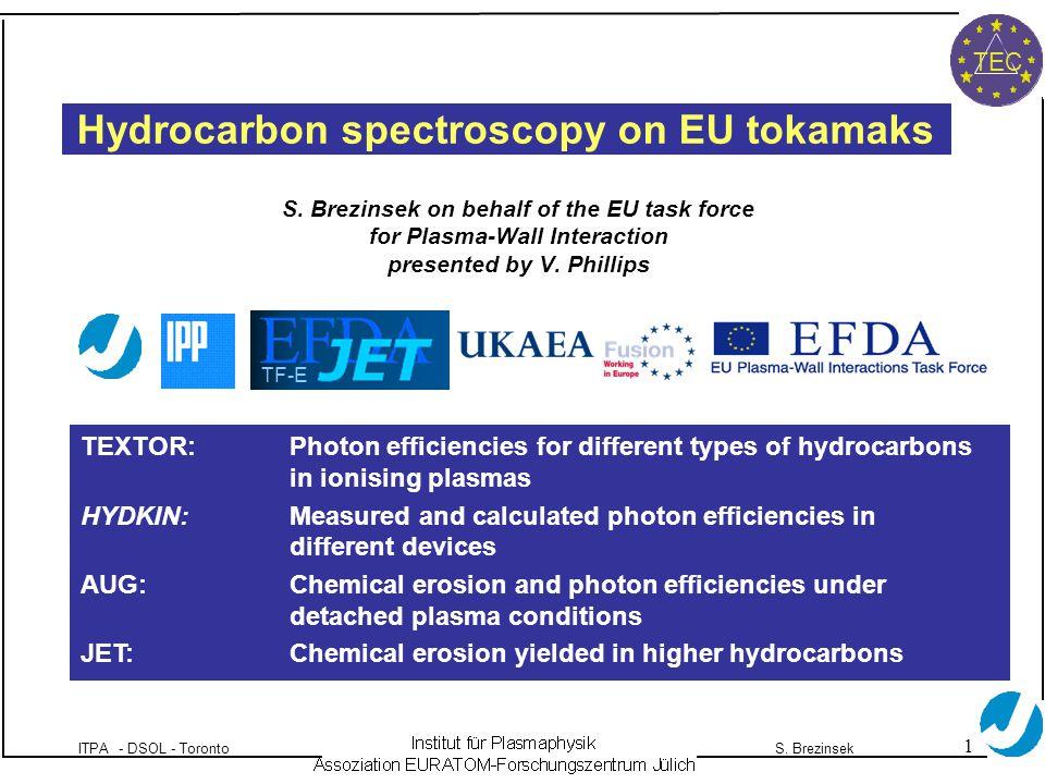 1 ITPA - DSOL - TorontoS. Brezinsek TEC Hydrocarbon spectroscopy on EU tokamaks S.