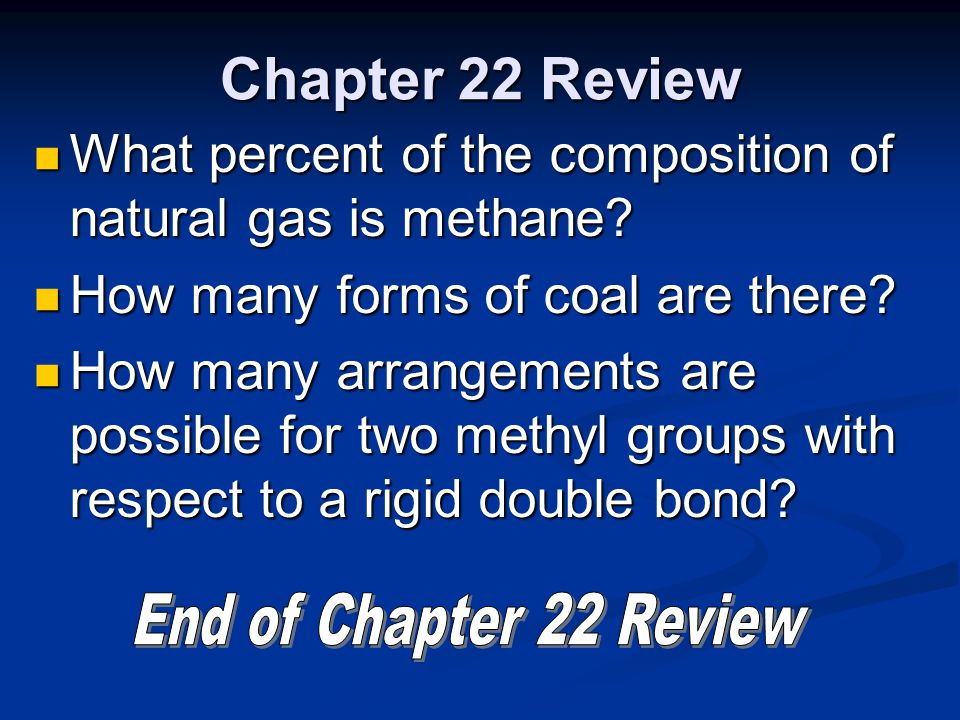 Chapter 22 Review What percent of the composition of natural gas is methane? What percent of the composition of natural gas is methane? How many forms