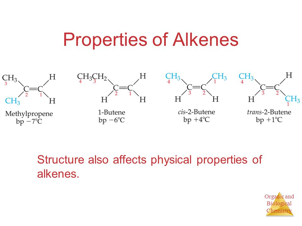 Organic and Biological Chemistry Properties of Alkenes Structure also affects physical properties of alkenes.