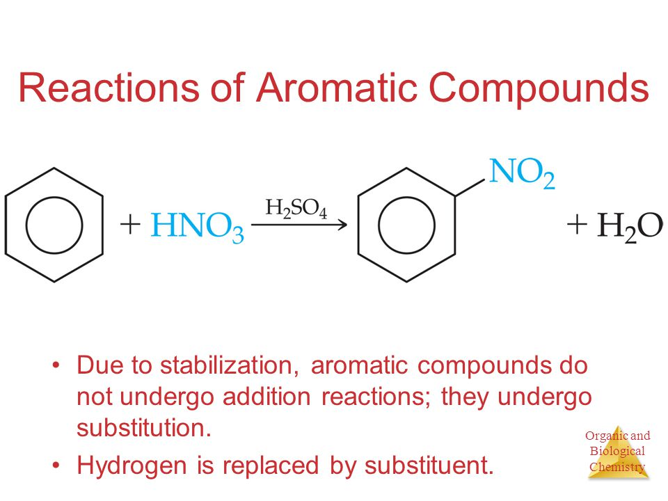 Organic and Biological Chemistry Reactions of Aromatic Compounds Due to stabilization, aromatic compounds do not undergo addition reactions; they undergo substitution.