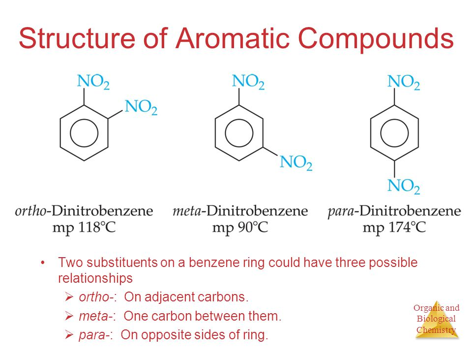 Organic and Biological Chemistry Structure of Aromatic Compounds Two substituents on a benzene ring could have three possible relationships  ortho-: On adjacent carbons.