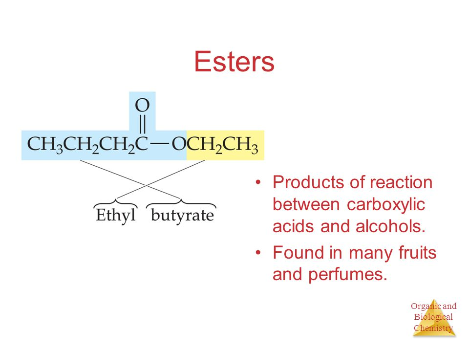 Organic and Biological Chemistry Esters Products of reaction between carboxylic acids and alcohols.